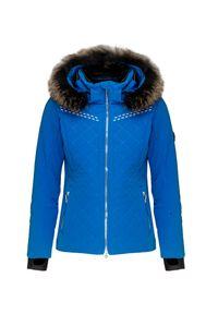 Niebieska kurtka narciarska Descente z aplikacjami