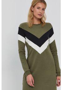 only - Only - Sukienka. Okazja: na co dzień. Kolor: zielony. Materiał: bawełna, dzianina. Długość rękawa: długi rękaw. Wzór: gładki. Typ sukienki: proste. Styl: casual