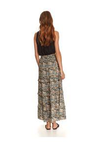 TOP SECRET - Długa spódnica z falbanami w print. Kolor: biały. Długość: długie. Wzór: nadruk