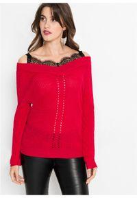 Fioletowy sweter bonprix w koronkowe wzory, z dekoltem w serek