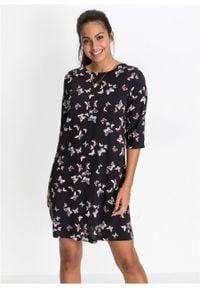 Sukienka z wiskozy bonprix czarny z nadrukiem w motyle. Kolor: czarny. Materiał: wiskoza. Wzór: nadruk