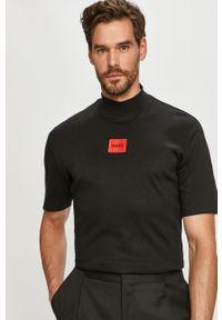 Czarny t-shirt Hugo na co dzień, casualowy, gładki