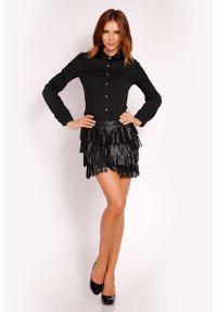 Lou-Lou - Czarna Koszula Zapinana na Biżuteryjne Guziki. Kolor: czarny. Materiał: elastan, nylon, bawełna