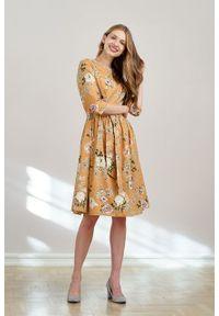 Marie Zélie - Sukienka Melia Valeriana miodowa. Typ kołnierza: kokarda. Kolor: pomarańczowy. Materiał: bawełna, skóra, materiał, elastan. Styl: klasyczny