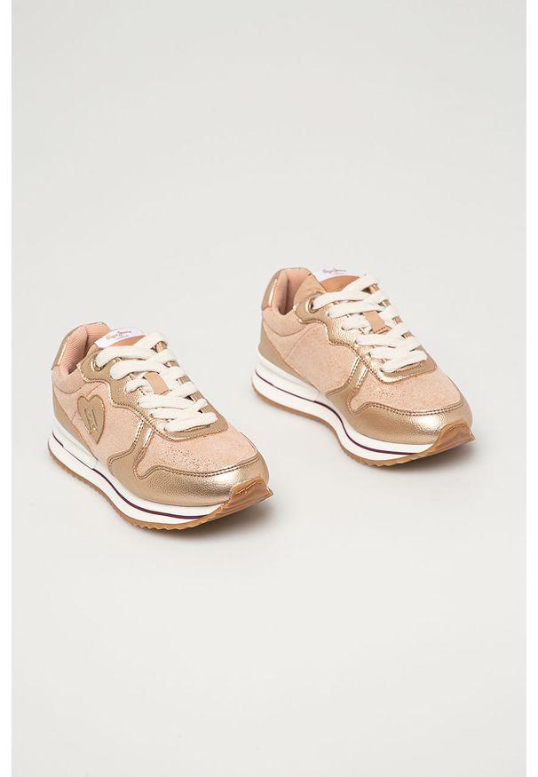 Różowe buty sportowe Pepe Jeans na sznurówki, z cholewką