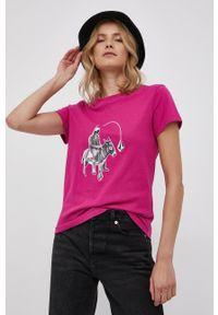 Volcom - T-shirt bawełniany. Okazja: na co dzień. Kolor: różowy. Materiał: bawełna. Wzór: nadruk. Styl: casual
