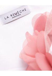 LA REVECHE - Dół od bikini Shayna. Kolor: biały. Materiał: tkanina. Wzór: kwiaty, aplikacja