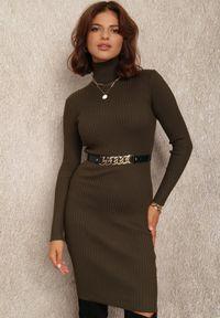 Renee - Ciemnozielona Sukienka Brierra. Typ kołnierza: golf. Kolor: zielony. Materiał: dzianina, prążkowany. Długość rękawa: długi rękaw. Wzór: jednolity. Typ sukienki: dopasowane. Długość: mini