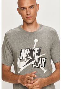 Szary t-shirt Jordan na co dzień, casualowy, z nadrukiem