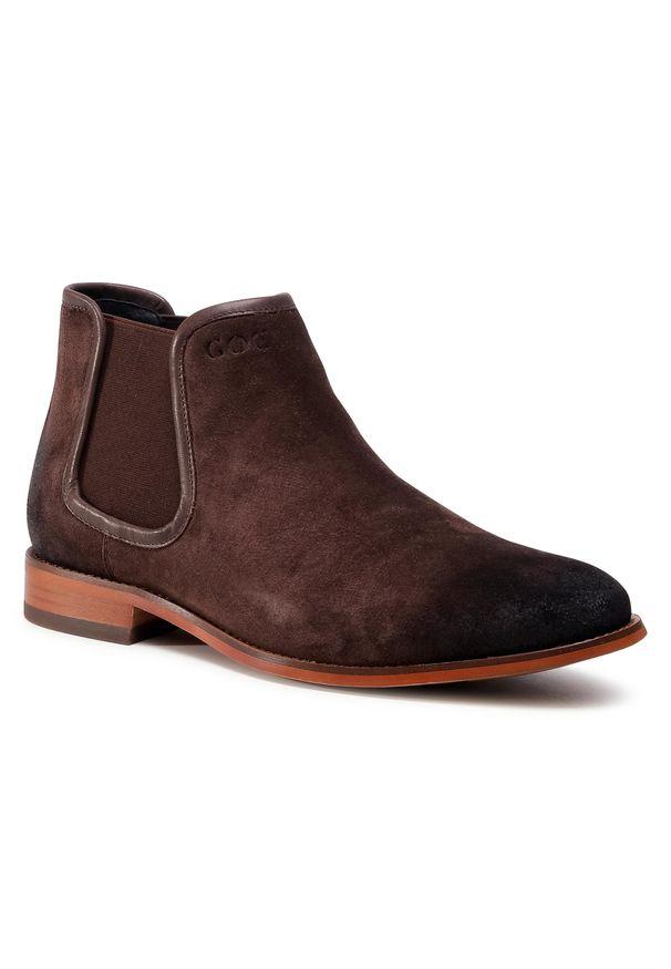 Brązowe buty zimowe GOE casualowe, na co dzień, z cholewką