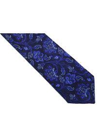 Modini - Granatowy krawat męski we florystyczny wzór C6. Kolor: niebieski. Materiał: tkanina, mikrofibra