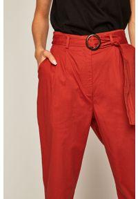 Brązowe spodnie materiałowe medicine z podwyższonym stanem