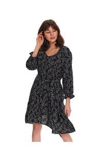 Czarna sukienka TOP SECRET rozkloszowana, na wiosnę