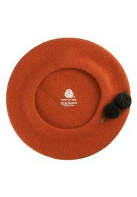 Wittchen - Damski beret wełniany z pomponami. Kolor: czerwony. Materiał: wełna. Wzór: aplikacja. Sezon: zima. Styl: klasyczny