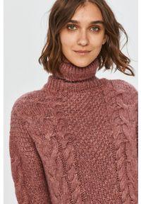 Różowy sweter Answear Lab z długim rękawem, na co dzień, wakacyjny, z golfem