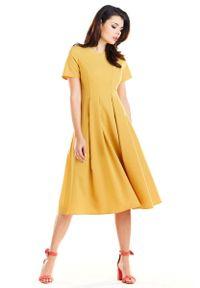 Żółta sukienka wizytowa Awama elegancka, z krótkim rękawem