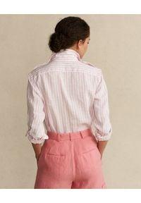 Ralph Lauren - RALPH LAUREN - Różowo-biała lniana koszula. Typ kołnierza: polo. Kolor: biały. Materiał: len. Długość rękawa: długi rękaw. Długość: długie #5