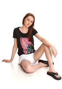 TOP SECRET - T-shirt damski z kolorowym nadrukiem. Kolor: czarny. Materiał: tkanina, bawełna. Długość rękawa: krótki rękaw. Długość: krótkie. Wzór: nadruk, kolorowy. Sezon: lato. Styl: wakacyjny
