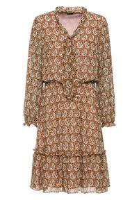 Brązowa sukienka bonprix paisley, midi
