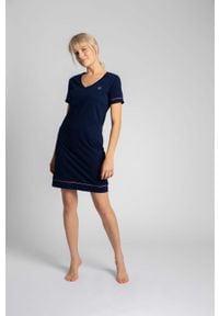 MOE - Koszula Nocna z Atłasową Wypustką - Granatowa. Kolor: niebieski. Materiał: bawełna