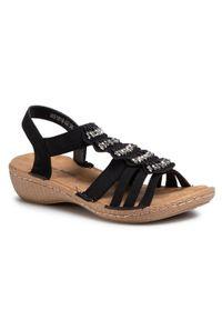 Czarne sandały Clara Barson na co dzień, z aplikacjami