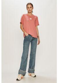 Różowa bluzka adidas Originals na co dzień, casualowa, z aplikacjami