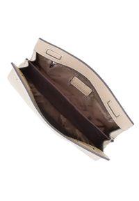 Wittchen - Damska kopertówka z pionowymi lampasami. Kolor: beżowy. Materiał: skórzane. Rozmiar: małe. Styl: elegancki, casual. Rodzaj torebki: na ramię