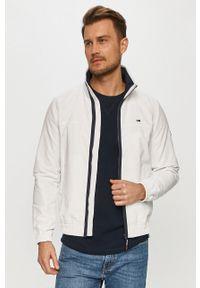 Biała kurtka Tommy Jeans casualowa, gładkie, na co dzień, bez kaptura