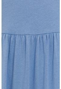 only - Only - Sukienka. Kolor: niebieski. Materiał: dzianina, bawełna. Długość rękawa: krótki rękaw. Wzór: gładki. Typ sukienki: rozkloszowane