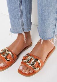 Born2be - Pomarańczowe Klapki Lysitus. Nosek buta: otwarty. Kolor: pomarańczowy. Sezon: lato. Obcas: na obcasie. Wysokość obcasa: niski