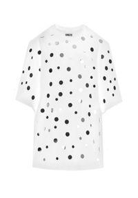 T-DRESS - Biała sukienka mini MIRROR SPLASH WHITE. Kolor: biały. Materiał: materiał. Typ sukienki: oversize. Długość: mini
