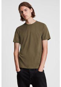 AllSaints - T-shirt bawełniany. Okazja: na co dzień. Kolor: brązowy. Materiał: bawełna. Wzór: gładki. Styl: casual