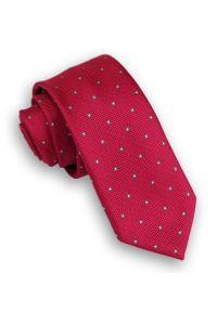 Czerwony Elegancki Krawat -Angelo di Monti- 6 cm, Męski, w Kwadraciki, Wzór Geometryczny. Kolor: czerwony. Wzór: geometria. Styl: elegancki