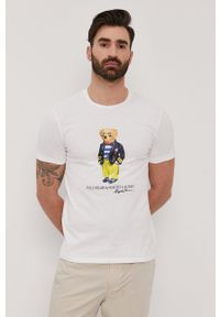 Polo Ralph Lauren - T-shirt. Typ kołnierza: polo. Kolor: biały. Materiał: dzianina. Wzór: nadruk