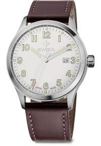 Zegarek Swiza Zegarek męski Kretos Gent SST biało-brązowy (WAT.0251.1001). Kolor: biały, wielokolorowy, brązowy