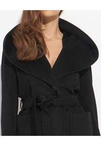 CINZIA ROCCA - Czarny płaszcz z oversizowym kołnierzem. Kolor: beżowy. Materiał: materiał, wełna. Długość: do kolan