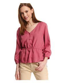 Różowa bluzka TOP SECRET długa, z długim rękawem, na co dzień, casualowa