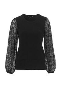 Czarny sweter Happy Holly w koronkowe wzory