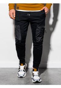 Ombre Clothing - Spodnie męskie dresowe joggery P917 - czarne - XXL. Kolor: czarny. Materiał: dresówka