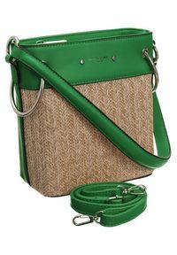 DAVID JONES - Torebka koszyk zielona David Jones CM5746 GREEN. Kolor: zielony. Materiał: skórzane