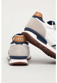Białe sneakersy Pepe Jeans z cholewką, z okrągłym noskiem, na sznurówki