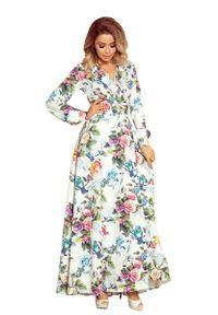 Sukienka wizytowa Numoco maxi, w kwiaty