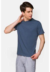 Lancerto - Koszulka Ciemnoniebieska Daniel. Okazja: na co dzień. Kolor: niebieski. Materiał: włókno, materiał, bawełna. Wzór: aplikacja. Sezon: lato, jesień, wiosna, zima. Styl: klasyczny, casual