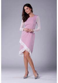 Różowa sukienka wizytowa Nommo kopertowa, wizytowa, z kopertowym dekoltem