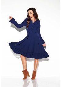 Niebieska sukienka wizytowa Lemoniade boho