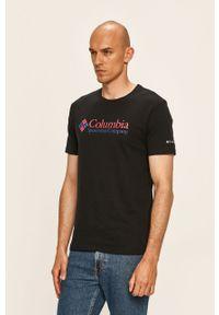 Czarny t-shirt columbia z nadrukiem, casualowy