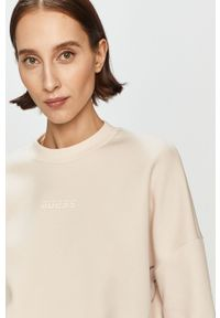 Różowa bluza Guess casualowa, z aplikacjami, na co dzień
