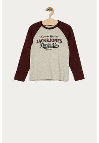 Brązowa koszulka z długim rękawem Jack & Jones na co dzień, casualowa, z nadrukiem
