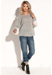 Szary sweter oversize Fobya w paski