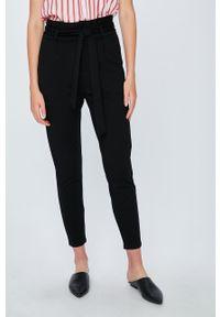 Czarne spodnie materiałowe Vero Moda melanż, casualowe, na co dzień